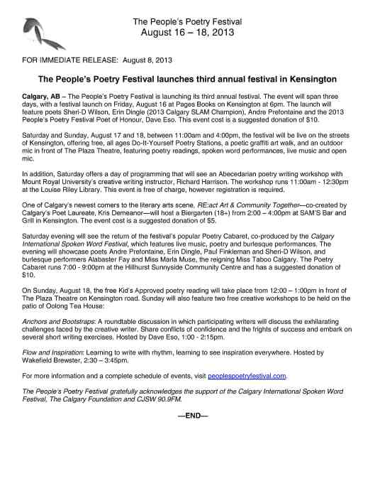 The People's Poetry Festival launches third annual festival in Kensington